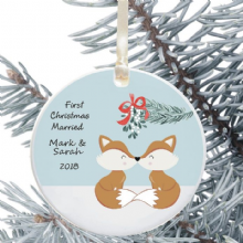 First Christmas Married Keepsake Decoration - Foxes Design